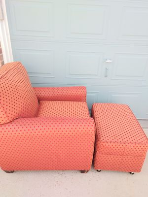2 Matching Melon Polka Dotted Chairs & Ottomans for Sale in Arvada, CO