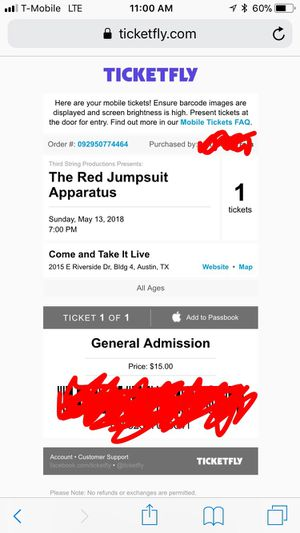 the red jumpsuit apparatus ticket for Sale in Austin, TX