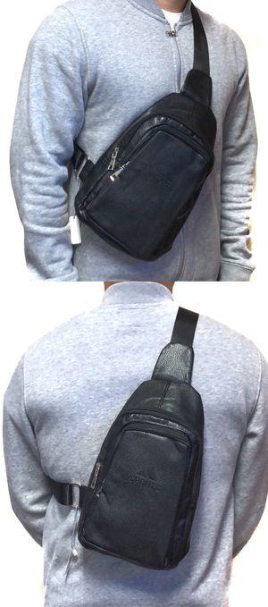 NEW! Faux leather CrossBody Side Bag Backpack messenger cell phone tablet holder biking school bag work bag sling chest bag for Sale in Long Beach, CA