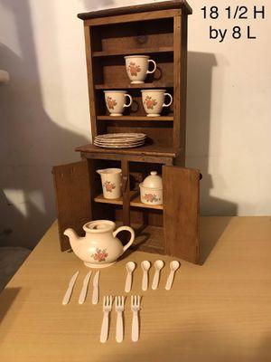 Tea set with wood cabinet for Sale in Woodbridge, VA