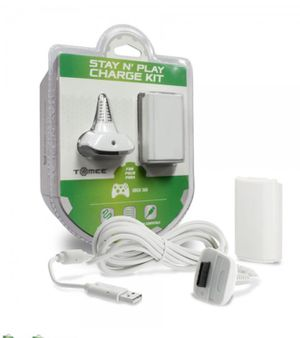 Brand New Stay N Play Controller Charge Kit for Xbox 360 (White) - Tomee Discounted shipping with PayPal for Sale in Fenton, MO
