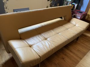 Designer leather futon / couch converts to bed for Sale in Hialeah, FL