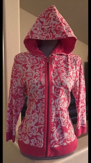 Tommy Hilfiger women's pink white floral full zip hoodie jacket Large! 3/4 sleeve for Sale in Vancouver, WA