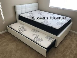 Full/twin white trundle bed w. Orthopedic mattresses included for Sale in Hawthorne, CA