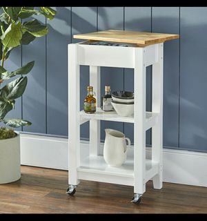 Mainstays Kitchen Cart with Removable Top, White Finish for Sale in Houston, TX