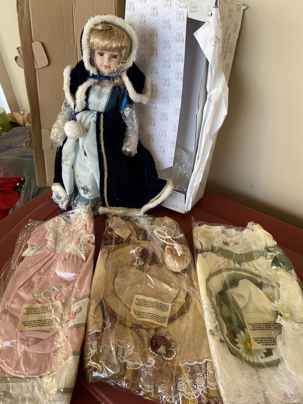 Ceramic Doll New With 3 Outfits In A Box