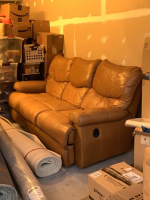 Carmel leather couch for Sale in Boyds, MD