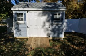 New 10' x 12' Blue Mist Vinyl Shed with Hurricane Anchors for Sale in Norfolk, MA