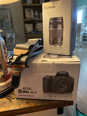 Canon EOS SL2 with lenses, camera bag and tripod for Sale in Hickory Valley, TN