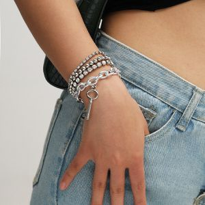 Multilayer Crystal Claw Chain Punk Style Cross Chain Bracelet, Silver Color for Sale in Los Angeles, CA