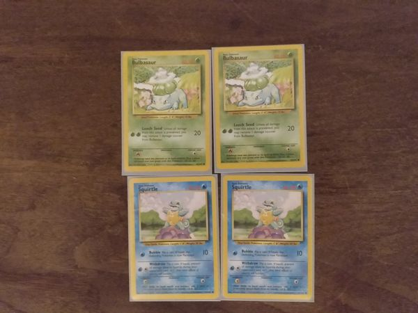 First pokemon set rare cards, misprints, and variations
