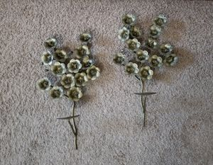 Pair Wrought Iron Metal Wall Floral Pillar Candle Holders for Sale in Round Rock, TX