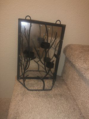 Black metal mirrored tea light wall hanging for Sale in Sherwood, OR