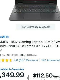 HP Omen 15.6 AMD Ryzen 7 for Sale in Hollywood,  FL