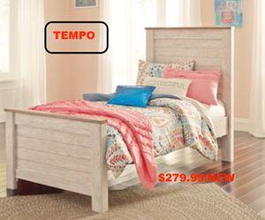 Willovton Twin Panel Bed , Whitewash for Sale in Santa Ana, CA