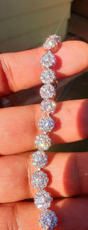 "Womens 8"" Inch Flower CZ Diamond Rose Gold Bracelet for Sale in Riverside, CA"