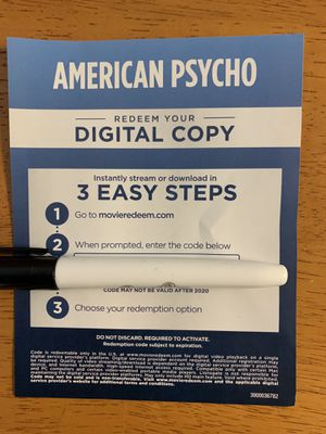 American Psycho 4K digital code for Sale in Anaheim, CA