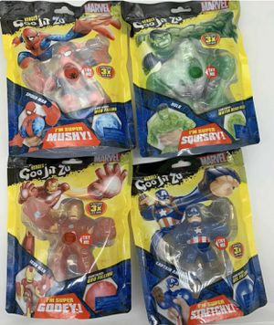 Lot of 4 Goo Jit Zu Marvel Heroes Spiderman, Captain America, Iron Man and Hulk for Sale in Silver Spring, MD