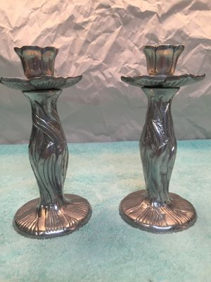 Vintage pewter candle stick holders shape like flower petals for Sale in Boca Raton, FL