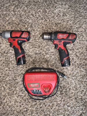 Milwaukee 12V Drill and Impact with 2 batteries and charger for Sale in Florence, KY