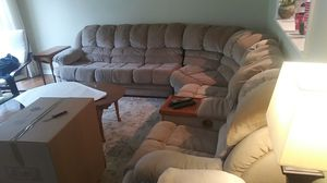 Giant sectional couch with two rdckiners and a armrest cabinet for Sale in Wexford, PA