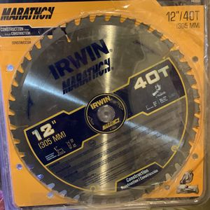 Irwin Marathon 12in 40t Carbide Miter/table Saw Blade for Sale in Flagstaff, AZ