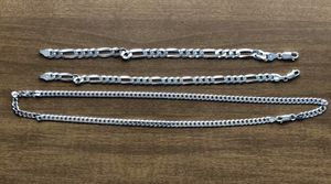 Figaro .925 silver links Necklace and Bracelets for Sale in Eagleville, PA