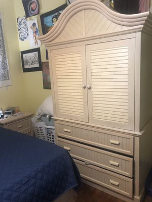 King size bed frame with armoires day two night stands. for Sale in KIMBERLIN HGT, TN