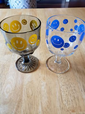 Smiley Face Goblet drinking glasses for Sale in Gresham, OR