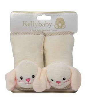 NEW 2 Pack Seat Belt Covers Ivory/Pink Bunny For Boys or Girls for Sale in New Port Richey, FL