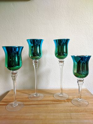 NEW Long-stem Glass Candle Holders, set of 4 for Sale in Norfolk, VA