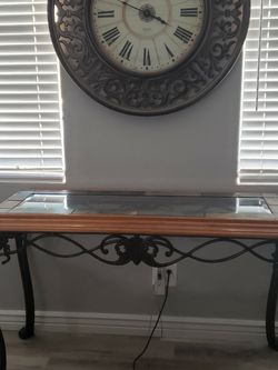 Rot Iron, Glass, And Stone Sofa Table And 2 End Tables for Sale in Glendale,  AZ