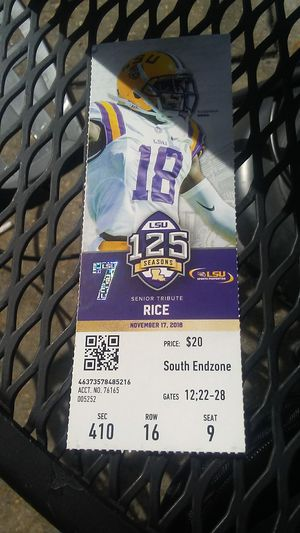 LSU vs rice owls game ticket for 1 person. for Sale in Baton Rouge, LA