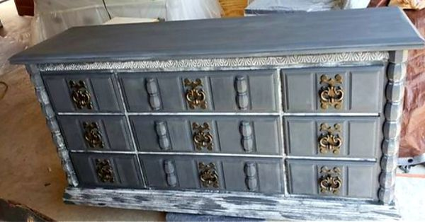 Grey /white distressed dresser