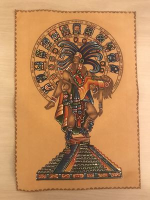 """Mayan Aztec Acrylic Painting on Leather - Popocatépetl and Iztaccíhuatl """"Eternal Love"""" for Sale in San Francisco, CA"""