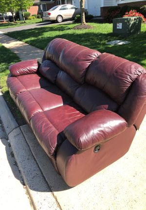 Leather Couch, Recliner, Nice! for Sale in Ashburn, VA