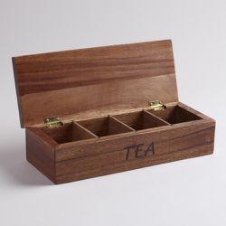 Acacia Wood Tea Storage Box for Sale in Alexandria,  VA