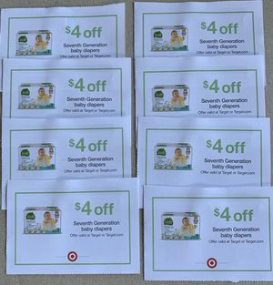 8 Target coupons: $4 off Seventh Generation diapers, expires 4/30/20 for Sale in Plantation, FL