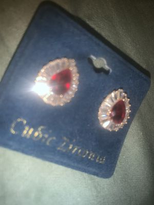 BRAND NEW Ruby Cubic Zirconia EARRINGS for Sale in Anaheim, CA