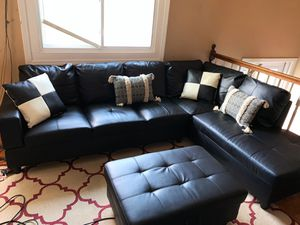 Black faux leather sectional couches / sofas with ottoman for Sale in Columbus, OH