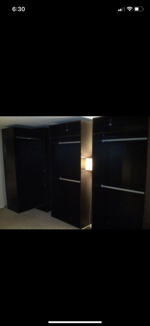 Closet, armoire custom - more accessories available will add for free. 5 separate closets. PAX Black storage for Sale in Burbank, CA
