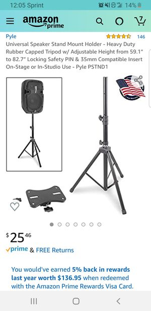 """Universal Speaker Stand Mount Holder - Heavy Duty Rubber Capped Tripod w/ Adjustable Height from 59.1"""" to 82.7"""" TRIPOD ONLY for Sale in Clovis, CA"""