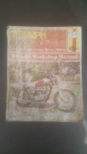 Repair manual for older Triumph 650 motorcycles for Sale in Rialto, CA