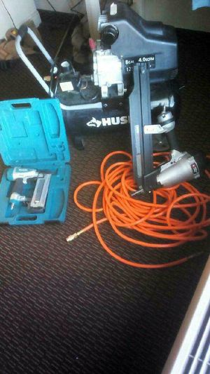 "18gauge brad nail gun 2""; 51mm. ......8 gallon compressor for Sale in Tampa, FL"