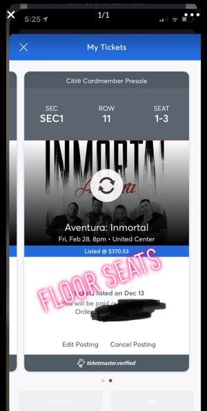 3 Aventura concert floor tickets for Sale in Chicago, IL
