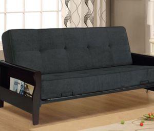 New!! Sofa, futon , sofa bed, futon bed, guest bed, wooden arms w storage pockets futon, sleeper, daybed, dark gray for Sale in Phoenix, AZ