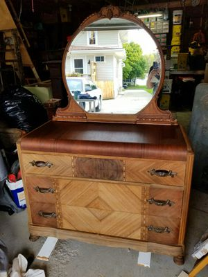 Antique Waterfall dresser and Mirror for Sale in Maumee, OH