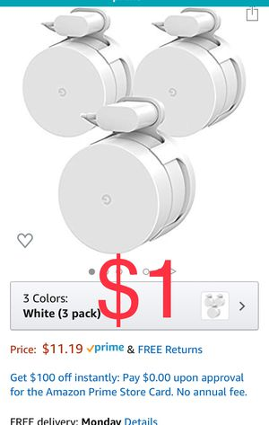 Brand new Google WiFi Wall Mount Bracket Holder, Basstop Simplest Bracket Stand for Google WiFi Router and Beacons (No Messy Screws) (White (3 Pack)) for Sale in Southwest Ranches, FL
