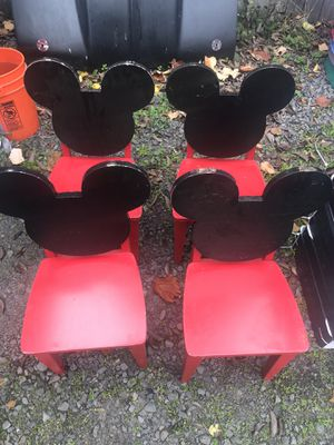 For solid wood Mickey Mouse kids chairs need repainted for Sale in Keizer, OR