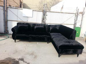 NEW 9X7FT VELVET BLACK FABRIC SECTIONAL CHAISE for Sale in Norwalk, CA